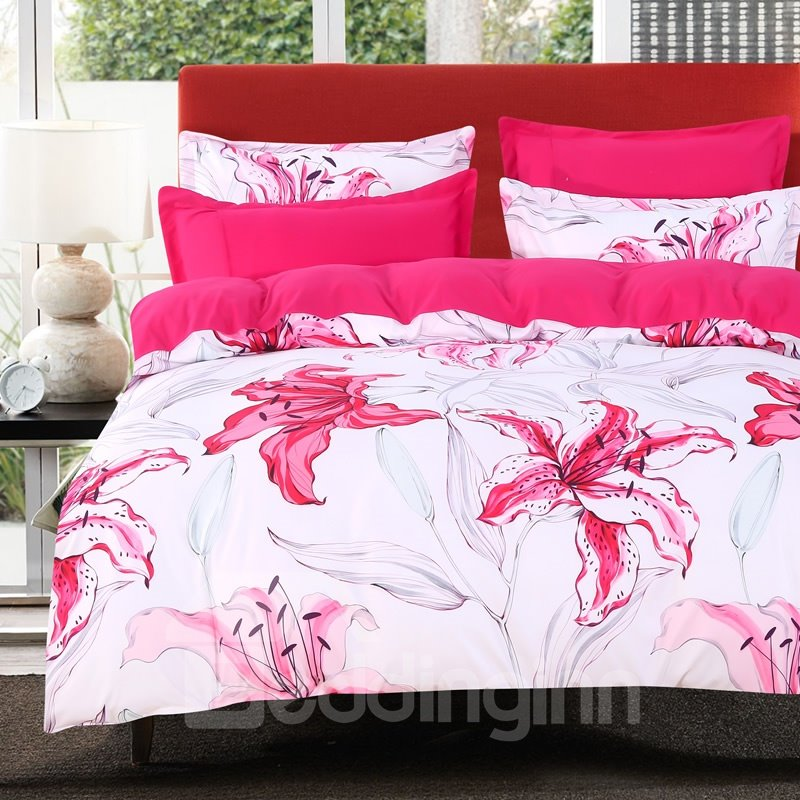 Designer 60S Brocade Rose Red Lily Blooming 4-Piece Cotton Bedding Sets/Duvet Cover