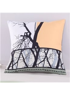 Withered Tree Branches Yellow Film Photography Decorative Square Polyester Throw Pillowcases
