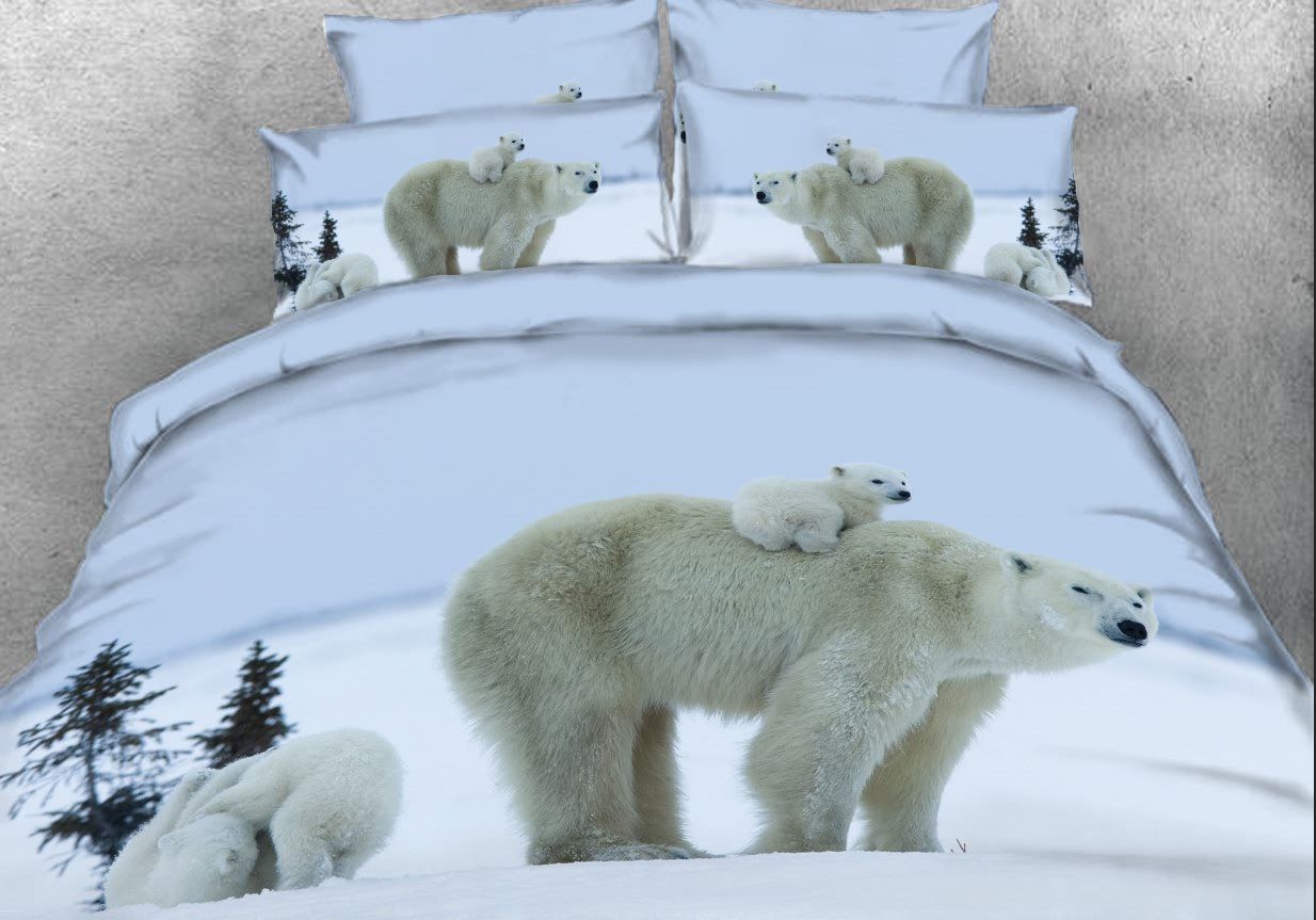 Polar Bear Mother Carries Cub Printed 4-Piece 3D Bedding Sets/Duvet Covers