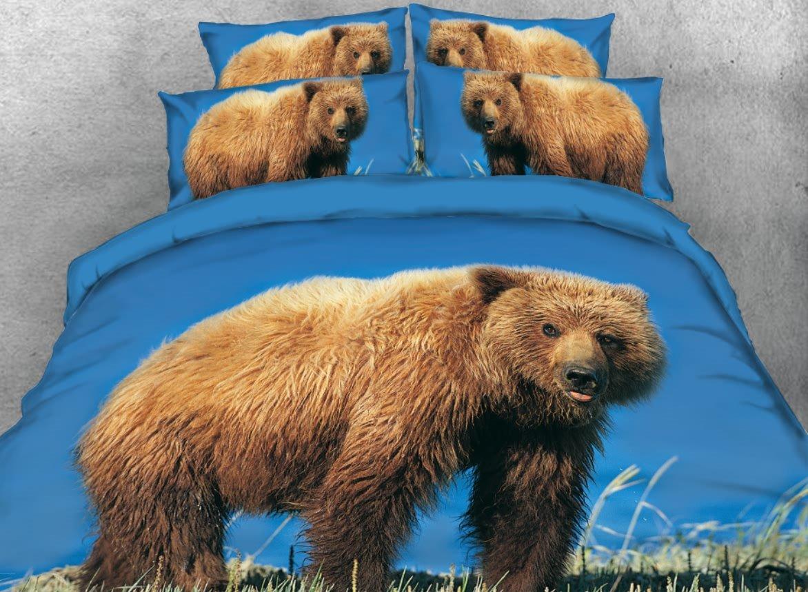 Brown Bear Printed 4-Piece Blue 3D Bedding Sets/Duvet Covers