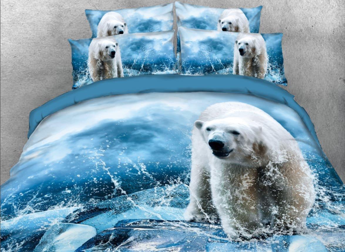 Vivilinen 3D Polar Bear with Water Printed 4-Piece Blue Bedding Sets/Duvet Covers