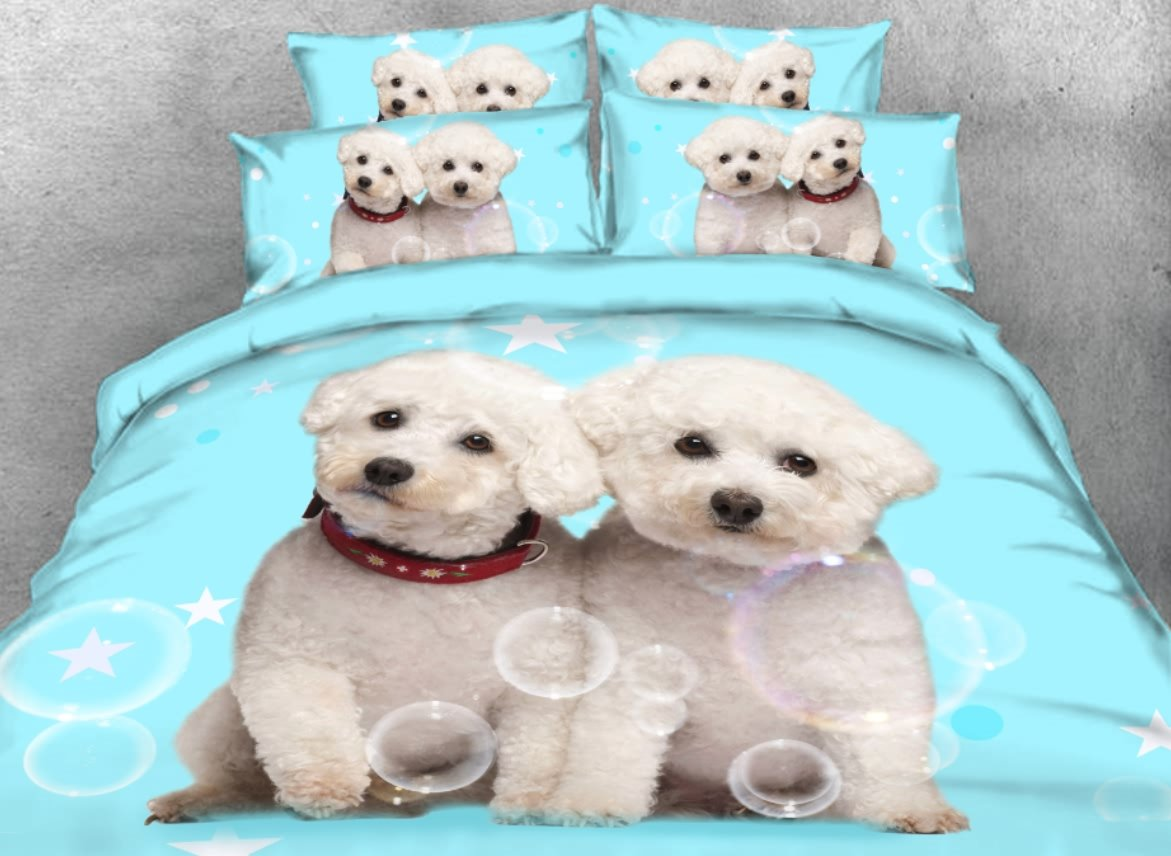 Vivilinen 3d Adorable White Puppies Printed 4 Piece Light Blue