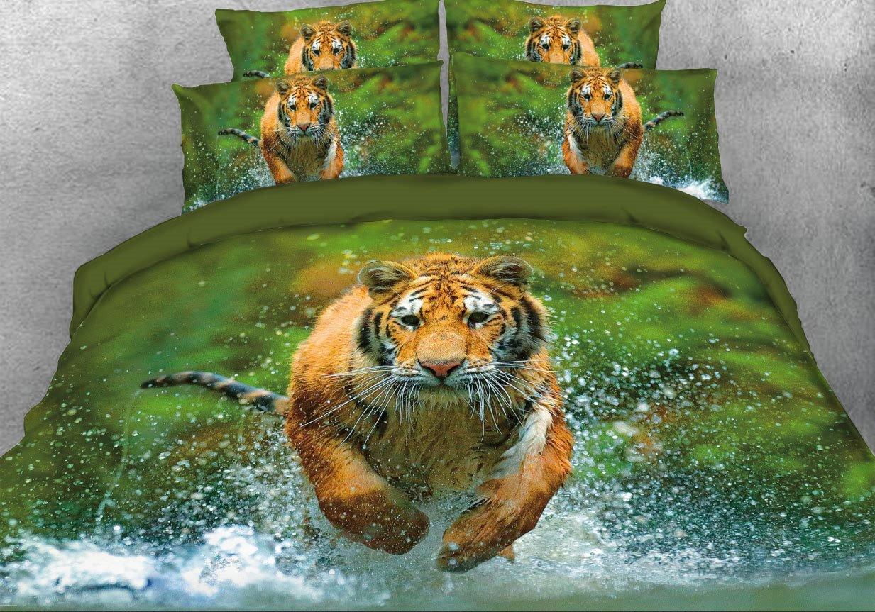 Vivilinen Tiger Running through Water Printed 4-Piece Animal 3D Bedding Sets/Duvet Covers