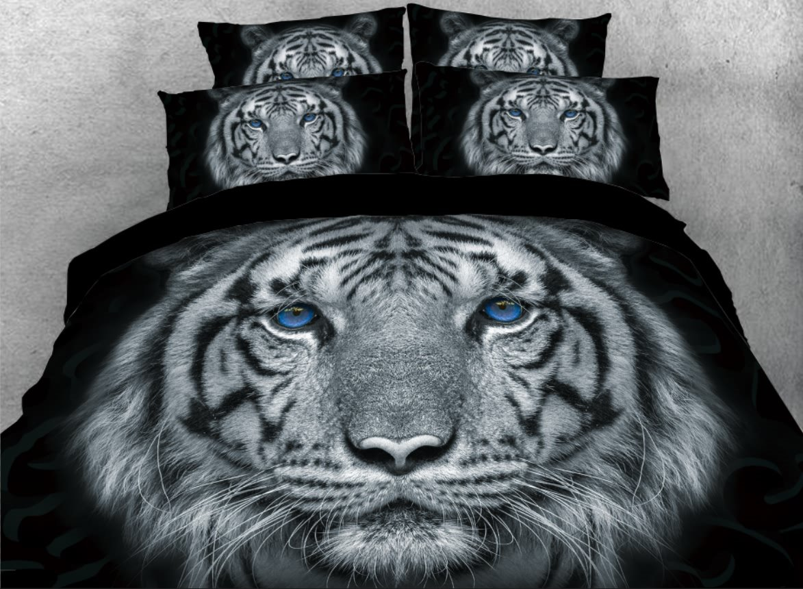 Onlwe 3D Tiger with Blue Eyes Printed 4-Piece Animal Bedding Sets/Duvet Covers