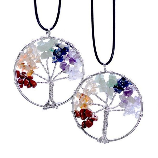 Tree of Life Pendant Rose Crystal Necklace Gemstone Chakra Jewelry Mothers Day Gifts