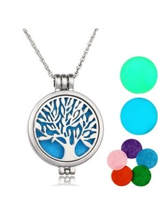 Car Air Freshener Essential Diffuser with Tree of Life Locket Perfume Necklace