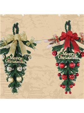 Christmas Wreath Upside Down Tree Door Hanging Decoration Rattan Colorful