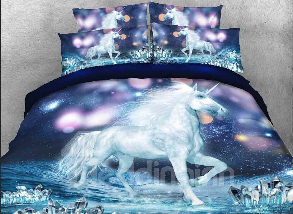 3d White Unicorn Sparkling Lights Printed 5 Piece Comforter Sets Pic