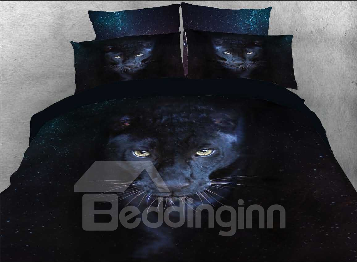 3d Wild Panther Printed 5 Piece Black Comforter Sets Pic