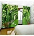 3D Vigorous Green Trees Corridor and White Doves Printed 2 Panels Window Drape