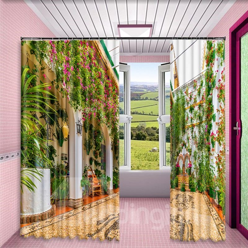 3D Grand House with Flowers Printed Thick Polyester 2 Panels Living Room Window Drape