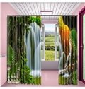 Rolling Waterfalls and Green Trees Printed 2 Panels Bedroom Living Room Curtain