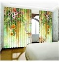 3D Flowers Vines and Lovely Elk Printed Two Panels Living Room Curtain