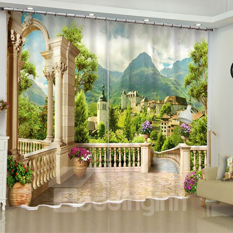 3D Green Mountains and Retro Castles Printed Polyester Custom Living Room Drapes