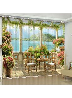 Peaceful Lake and Delicate Flowers Pavilion Printed 2 Panels Blackout Living Room Curtain