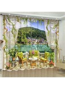 3D Green Mountains and Water with Leisure Chairs Printed Custom Living Room Curtain
