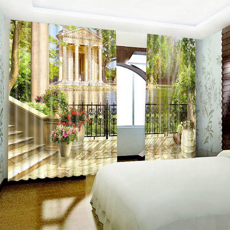 3D Retro and European Style 2 Panels Custom Living Room Window Drapes