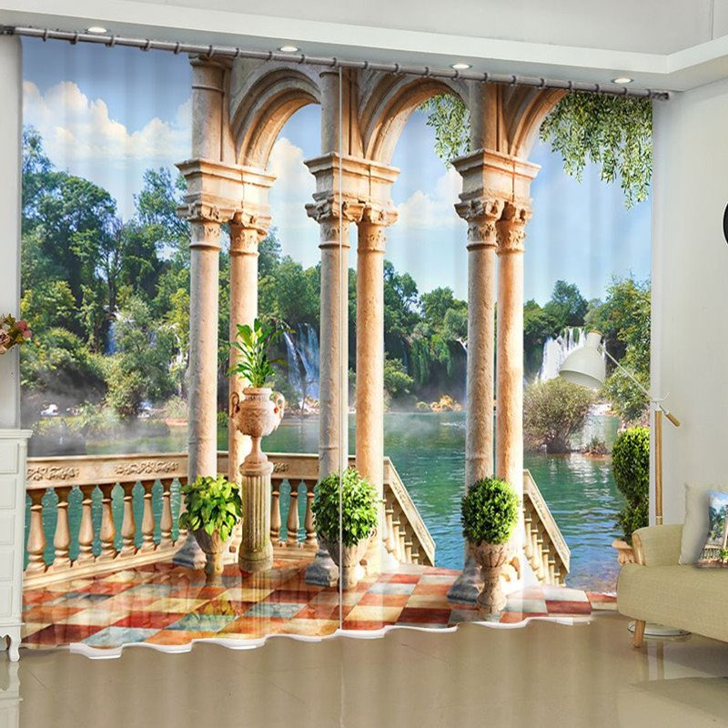 3D European Stone Column and Limpid River Printed 2 Panels Blackout Curtain
