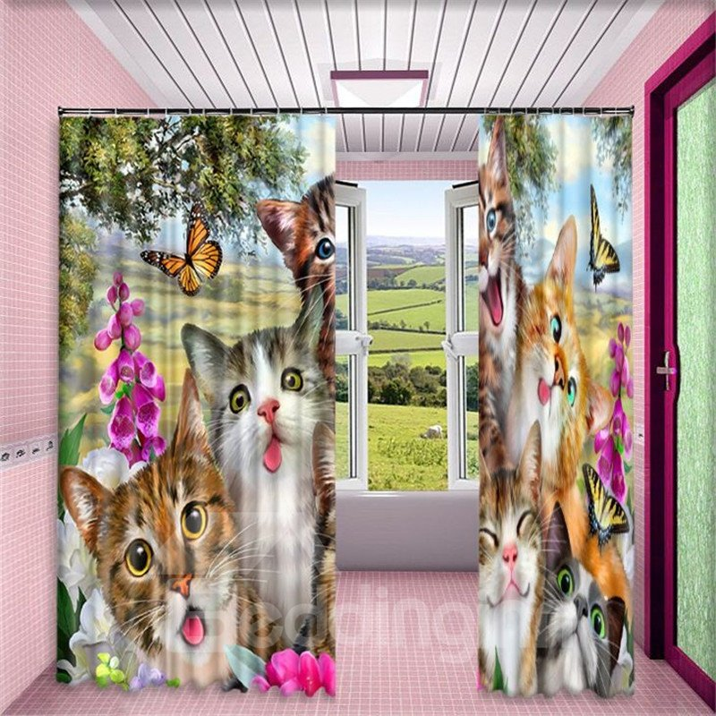 3D Vivid and Lovely Simle Cats Printed 2 Panels Grommet Top Curtain for Living Room