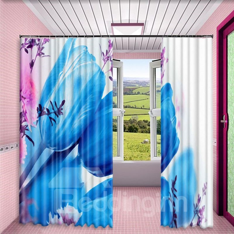 3D Blue Rose Printed Modern and Creative Style Living Room Custom Curtain
