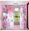 Romantic Pink Flowers and Butterflies Printed 2 Panels Custom Curtain for Living Room