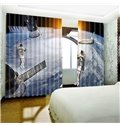 3D Astronauts on the Moon Printed 2 Panels Custom Polyester Living Room Curtain
