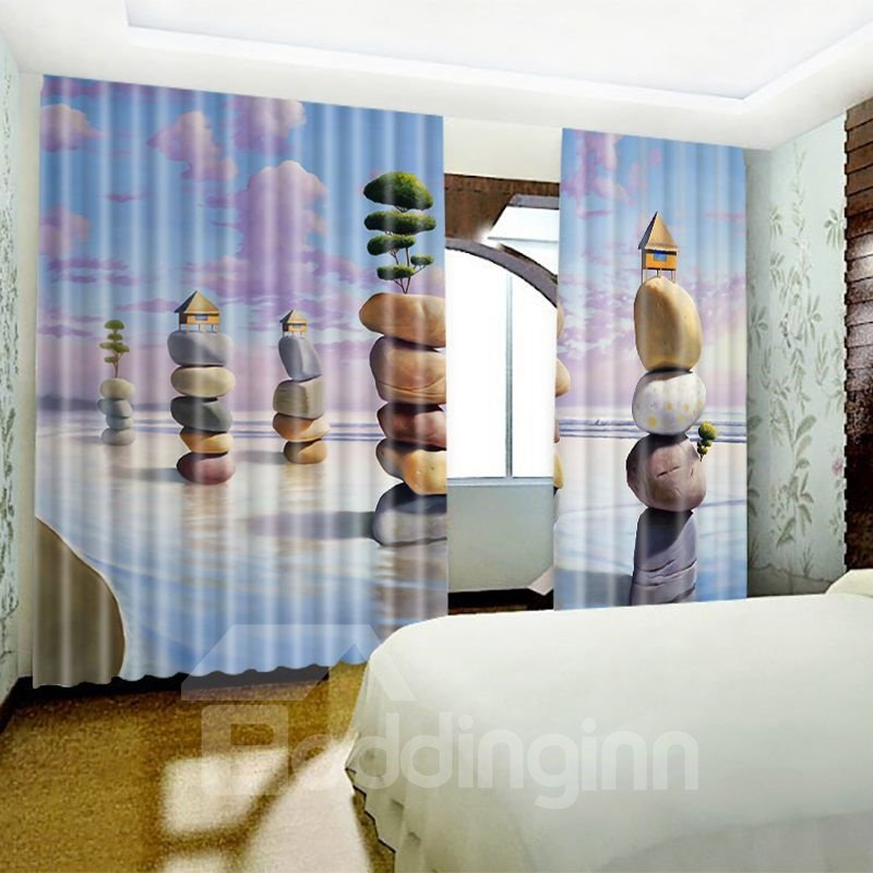 3D Creative Stones in the Seaside Printed 2 Panels Living Room Window Curtain