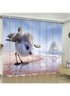 Lovely Birds and Beautiful Seaside Printed Custom Polyester 3D Curtain for Living Room