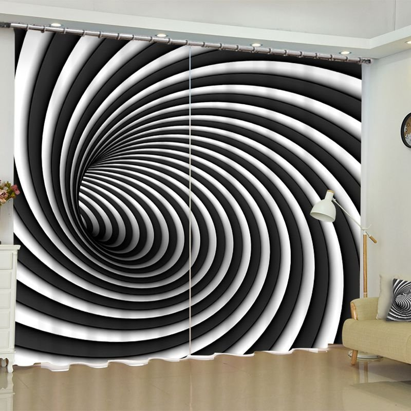 White Black Vortex Printed Polyester 2 Panels Blackout Curtain Pic