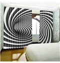 Creative White and Black Vortex Printed Polyester 2 Panels Blackout Curtain