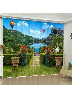 3D Green Mountains and Water with Garden Printed Beautiful Natural Scenery Custom Curtain