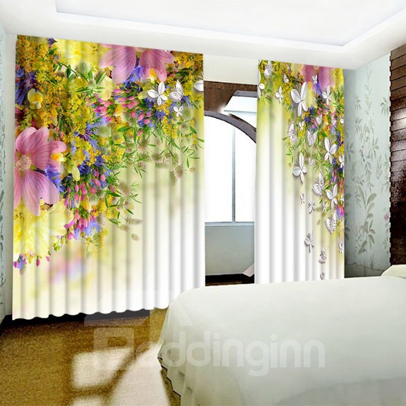 3D Pink Flowers and Butterflies Printed Pastoral Style 2 Panels Custom Window Curtain