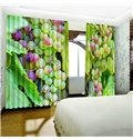 Vivid Grapes Printed Fresh and Pastoral Style 2 Panels Living Room Window Curtain