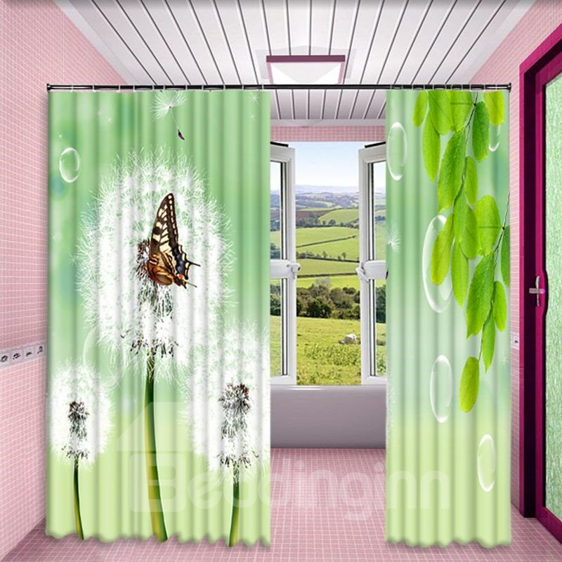 Blooming Dandelions and Butterfly Printed Pastoral Style Custom Polyester 2 Panels Curtain