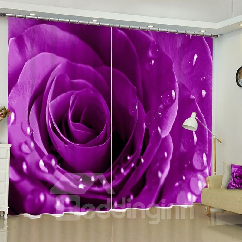 Fresh Purple Rose Water Drops Printed 2 Panels Living Pic