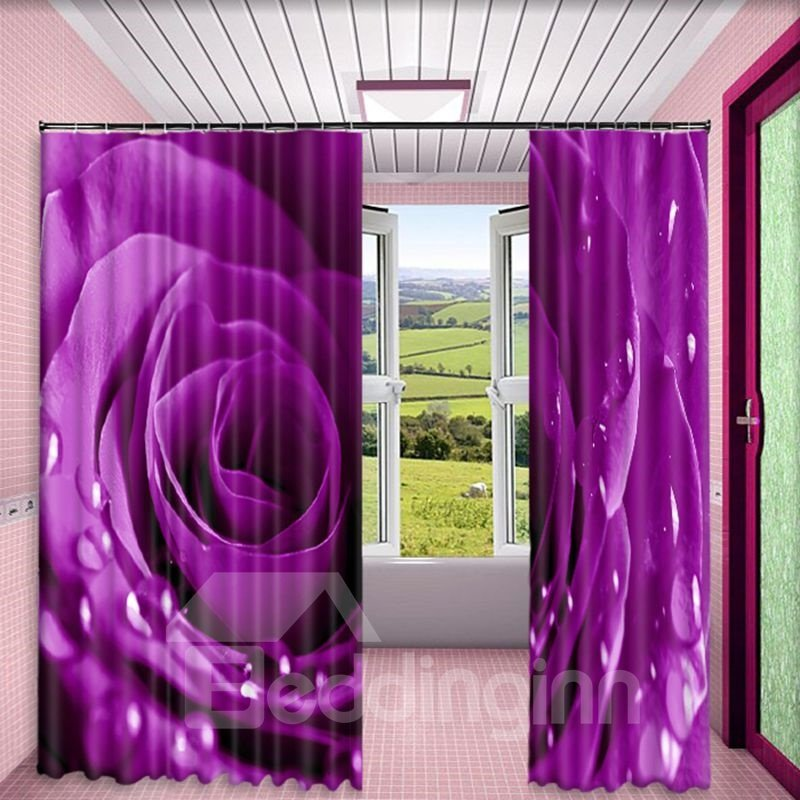 Fresh Purple Rose with Water Drops Printed 2 Panels Living Room Window Drapes