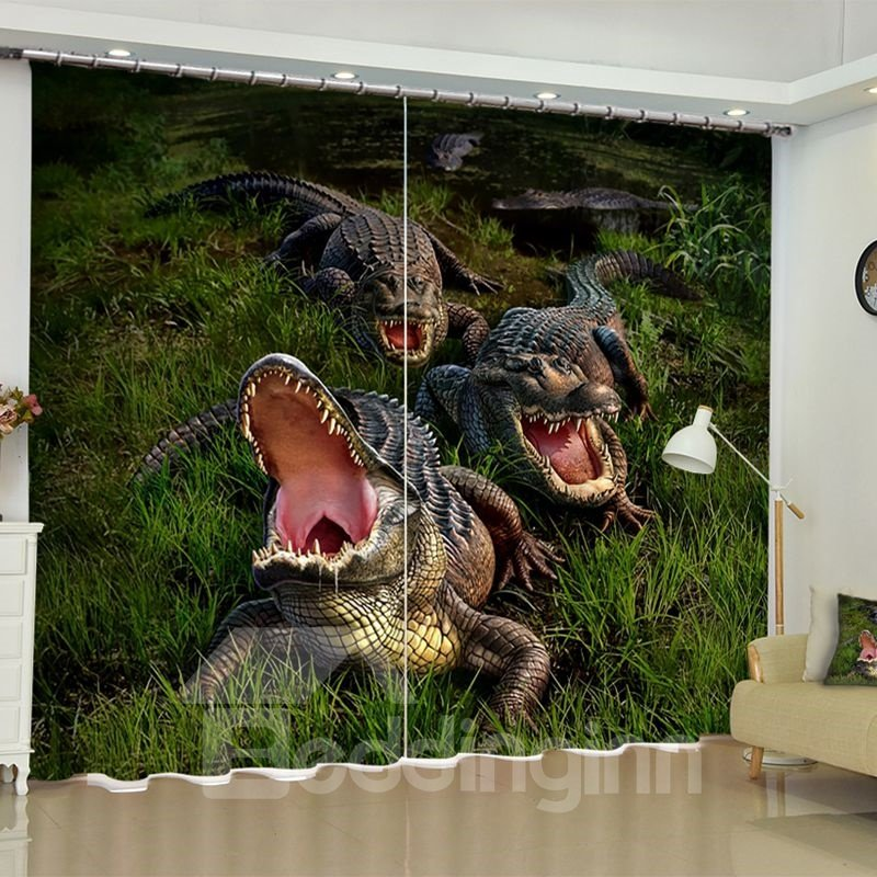 Ferocious Dinosaurs Printed Animals Style 2 Panels Grommet Top 3D Curtain