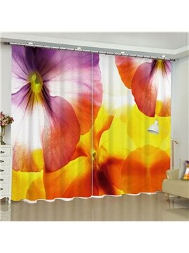 Creative Yellow and Pink Flowers Printed Polyester Custom Living Room Curtain