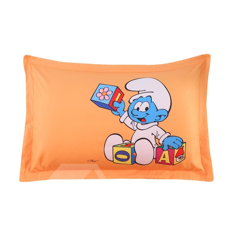 Baby Smurf Learning Letters Printed One Piece Bed Pillowcase