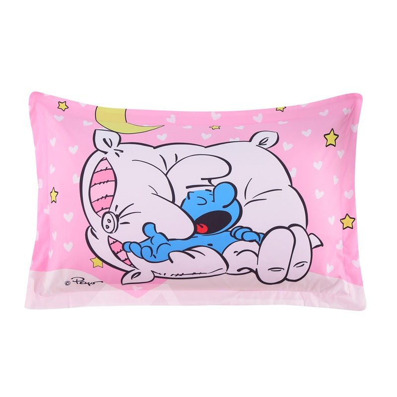 Sleepy Smurf with Moon Stars Printed Pink One Piece Bed Pillowcase
