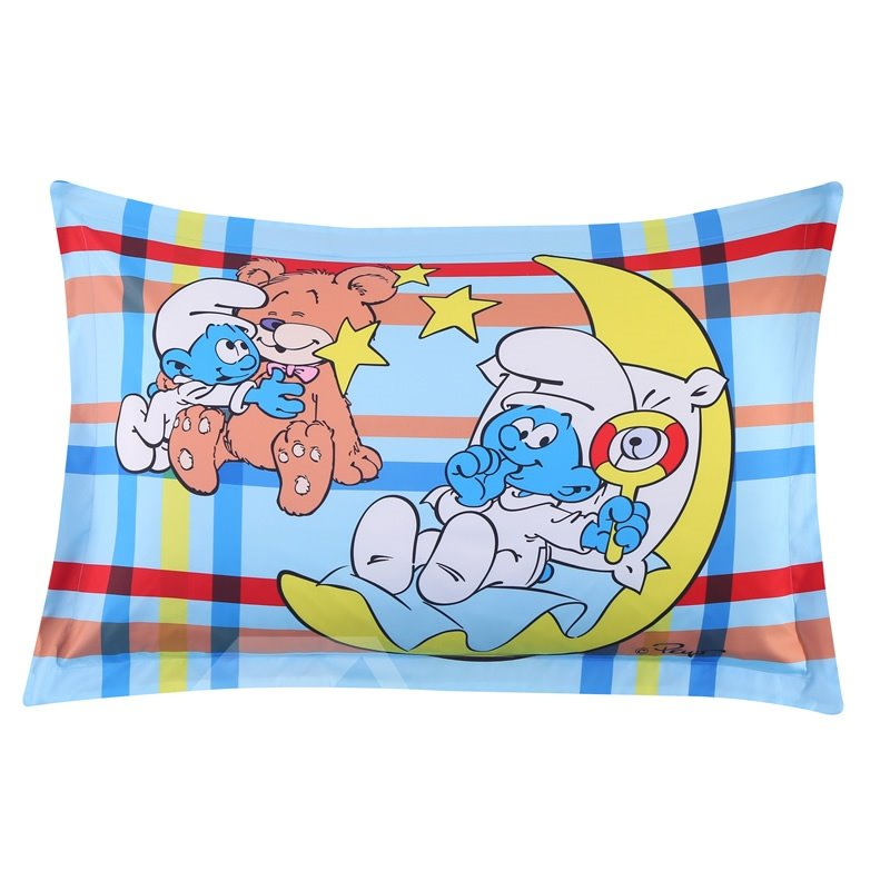 Baby Smurf with Moon and Bear Plaid Printed One Piece Bed Pillowcase