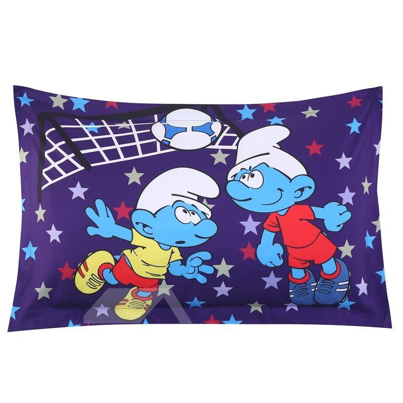 Soccer Smurfs Follow Sports Spirit One Piece Bed Pillowcase