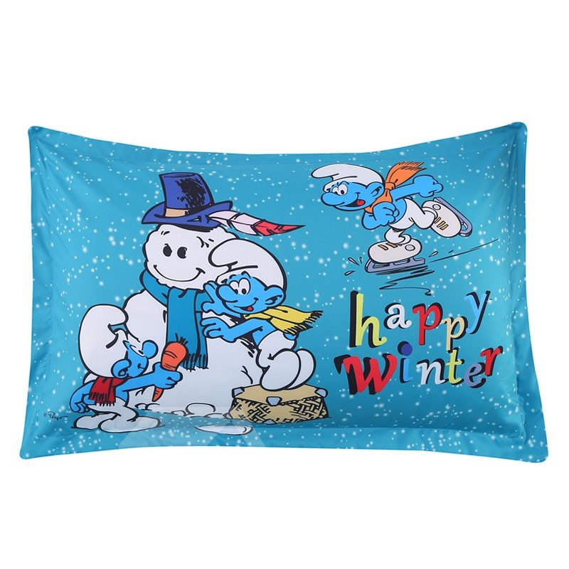 The Smurfs Building Snowman Printed One Piece Bed Pillowcase