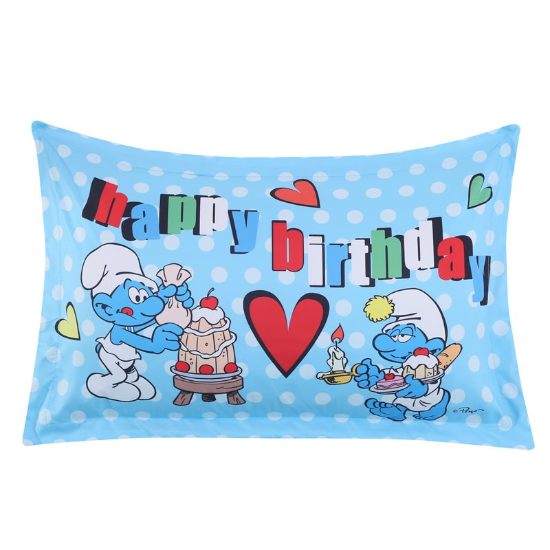 The Smurf Celebrating Birthday with Cakes One Piece Bed Pillowcase
