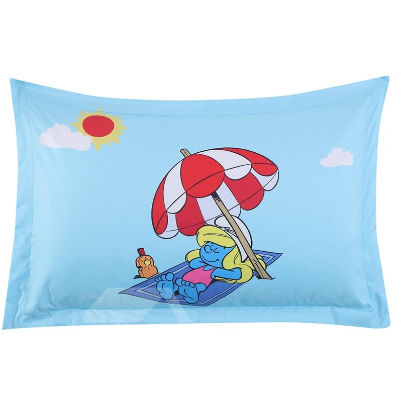 Smurfette with Umbrella on Vacation One Piece Bed Pillowcase