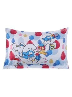 Baby Smurf Painting Flower and Building Blocks One Piece Bed Pillowcase