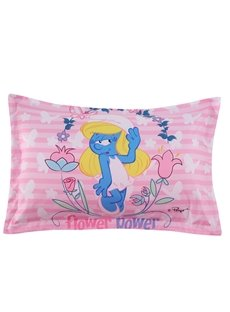Smurfette with Flower and Butterflies Pink One Piece Bed Pillowcase