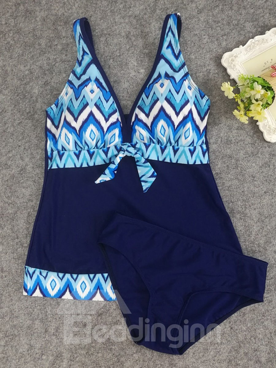 Two Piece Tankini Bathing Suit Printed Padded V Neck Summer Sexy Swimsuits for Women