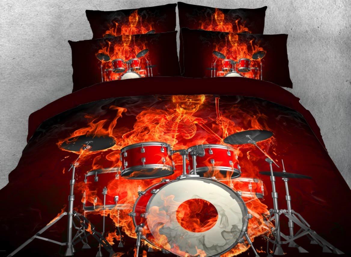 Onlwe 3D Fiery Skeleton Drummer Printed 4-Piece Bedding Sets/Duvet Covers