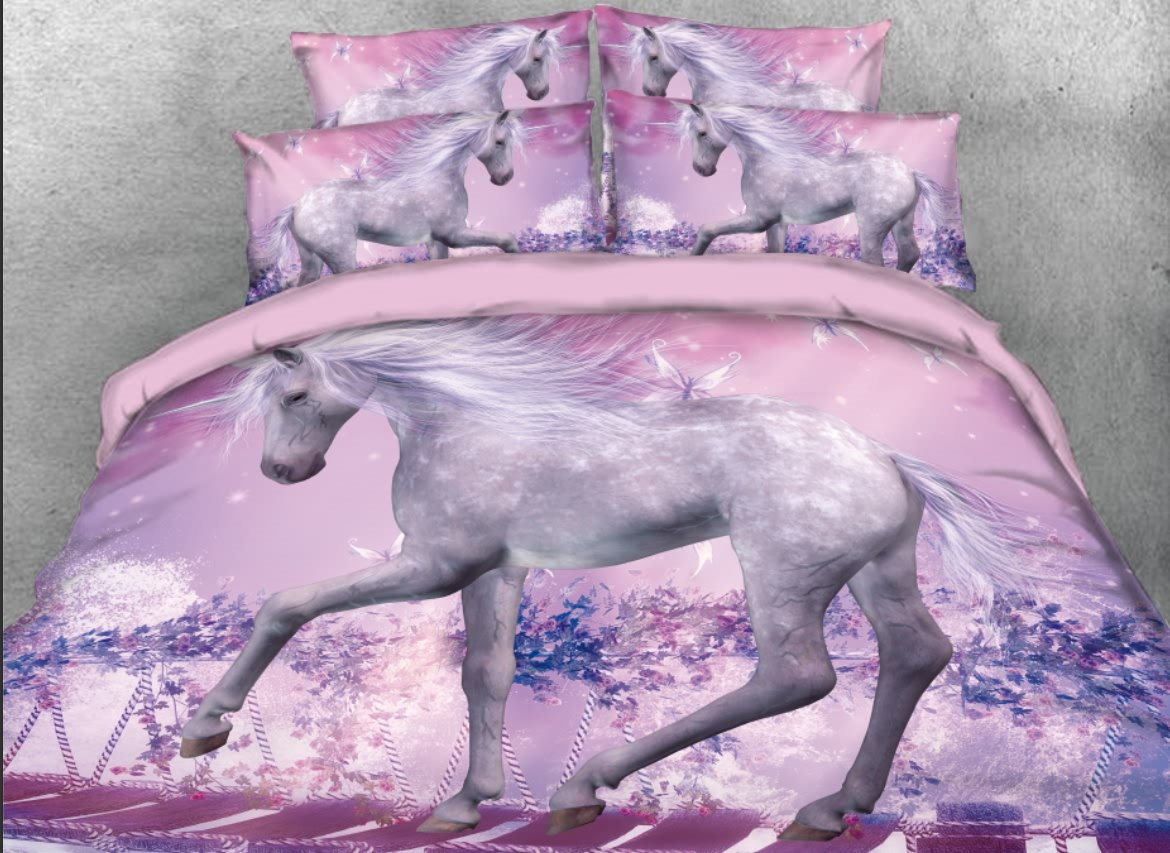 Vivilinen Unicorn Walking on Suspension Bridge Printed 4-Piece 3D Bedding Sets/Duvet Covers